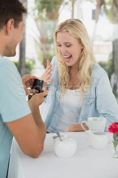 Mann Ehe schockiert Freundin Kaffeehaus Stock foto © wavebreak_media
