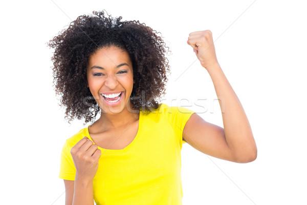 Bastante menina amarelo tshirt brim quente Foto stock © wavebreak_media