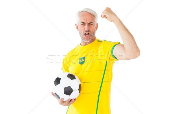 Juichen voetbal fan Geel witte gelukkig Stockfoto © wavebreak_media