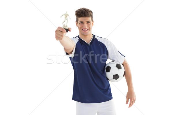 Futballista tart nyertesek trófea fehér boldog Stock fotó © wavebreak_media