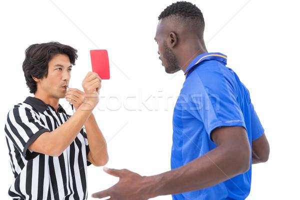 árbitro rojo tarjeta futbolista blanco Foto stock © wavebreak_media