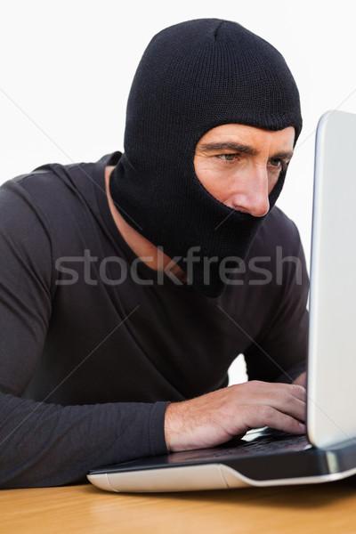 грабитель используя ноутбук белый компьютер ноутбук преступление Сток-фото © wavebreak_media
