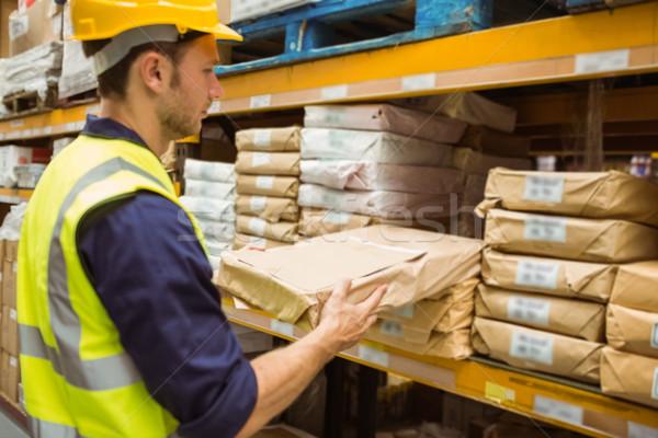 Halle Arbeitnehmer Aufnahme Paket Regal groß Stock foto © wavebreak_media