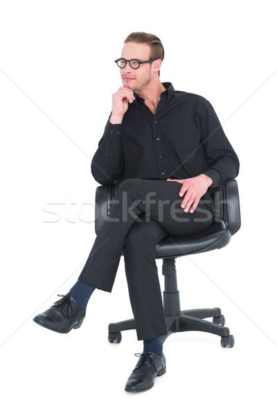 Nadenkend zakenman vergadering stoel witte business Stockfoto © wavebreak_media
