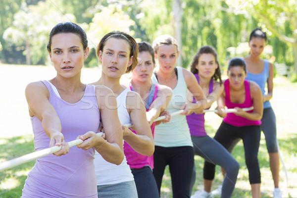 Fitnessz csoport játszik háború napos idő park Stock fotó © wavebreak_media
