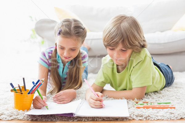 Siblings drawing with colored pencils while lying on rug Stock photo © wavebreak_media