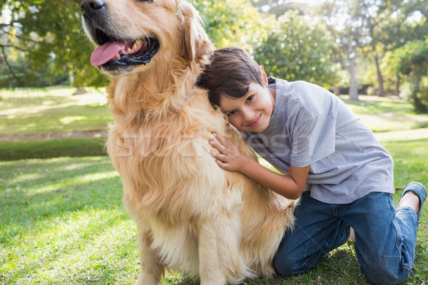 Zdjęcia stock: Mały · chłopca · psa · parku · drzewo