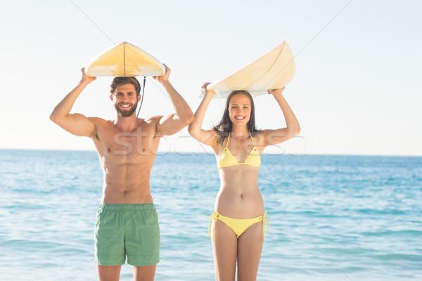 счастливым пару серфинга пляж женщину любви Сток-фото © wavebreak_media