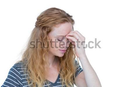 Sarışın kadın baş ağrısı beyaz kadın eller kafa Stok fotoğraf © wavebreak_media