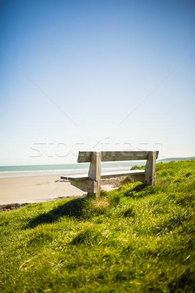 Kő pad tenger napos idő Stock fotó © wavebreak_media