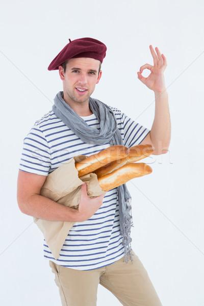 французский парень берет багеты белый Сток-фото © wavebreak_media