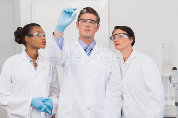 Wetenschappers naar proefneming laboratorium vrouw technologie Stockfoto © wavebreak_media