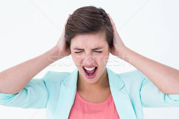 Boos vrouw schreeuwen witte vrouwelijke woede Stockfoto © wavebreak_media