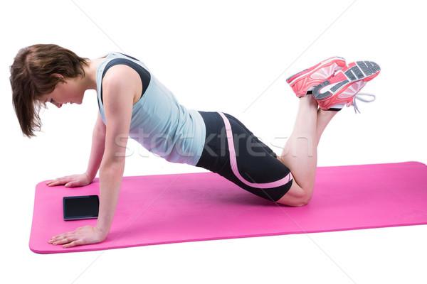 Bastante morena prensa hasta fitness salud Foto stock © wavebreak_media