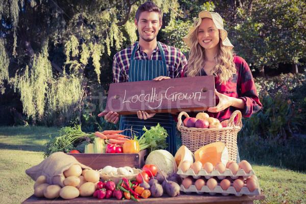 счастливым Фермеры Постоянный знак таблице Сток-фото © wavebreak_media