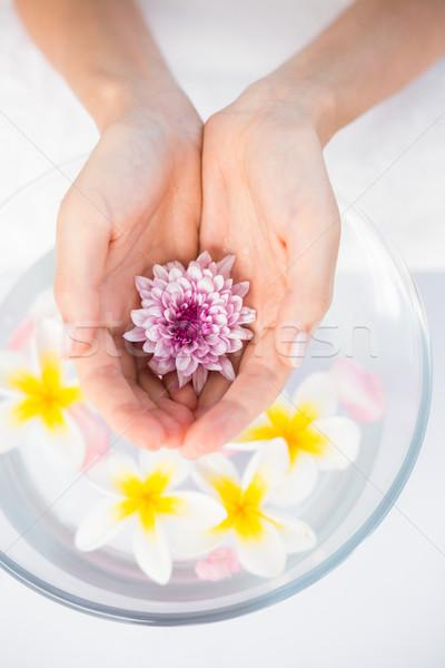 Szirmok virág fából készült tál fehér nő Stock fotó © wavebreak_media