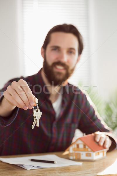 ヒップスター ビジネスマン 適用 住宅ローン オフィス モデル ストックフォト © wavebreak_media