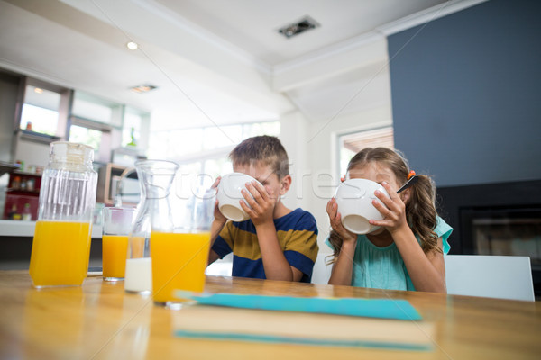 Sibling having breakfast cereal in kitchen Stock photo © wavebreak_media