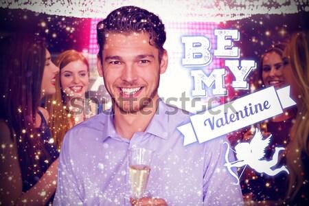Portrait of young singer holding mic at nightclub Stock photo © wavebreak_media