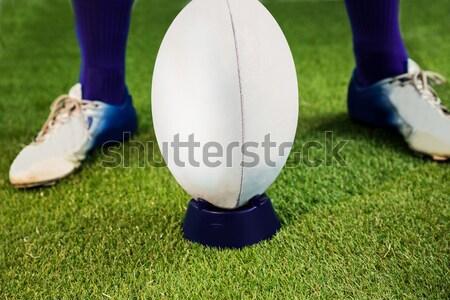 Imagen jugador tocar pelota de rugby campo cielo Foto stock © wavebreak_media