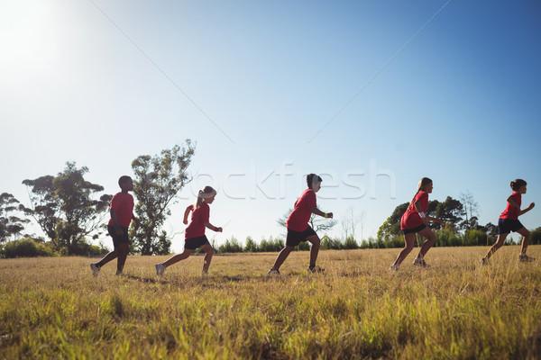 Csoport gyerekek jogging csizma tábor napos idő Stock fotó © wavebreak_media