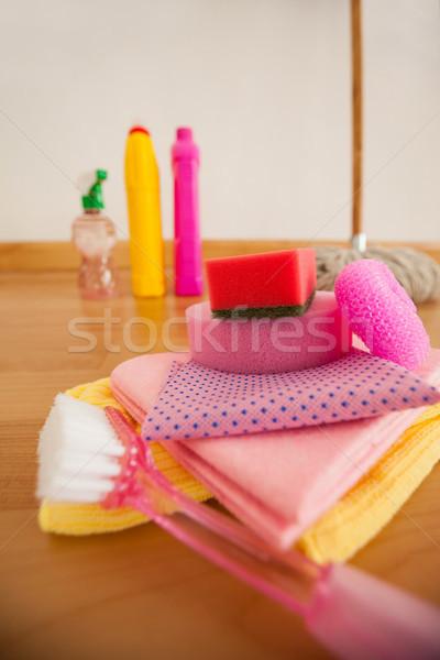 Various cleaning equipment on wooden floor Stock photo © wavebreak_media