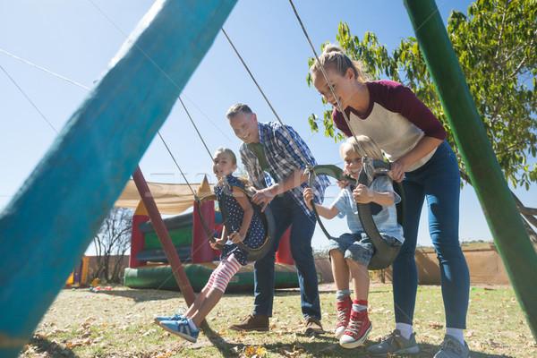 幸せ 両親 子供 遊び場 女性 ストックフォト © wavebreak_media