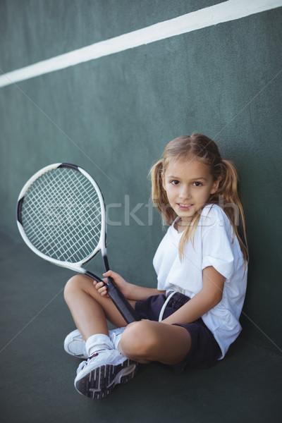 портрет девушки Теннисная ракетка сидят Сток-фото © wavebreak_media