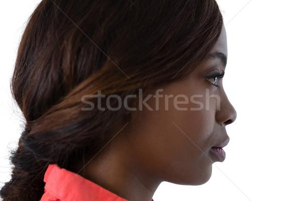 Oldalnézet nő barna haj másfelé néz fehér divat Stock fotó © wavebreak_media