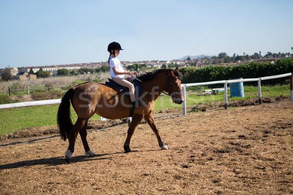 Menina equitação cavalo rancho céu Foto stock © wavebreak_media