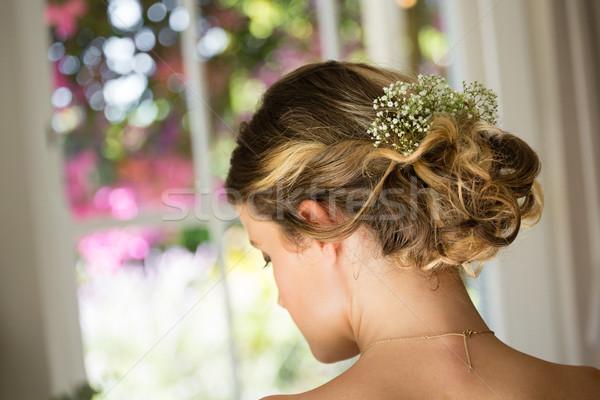 Stock fotó: Közelkép · menyasszony · haj · virágok · hátsó · nézet · nő
