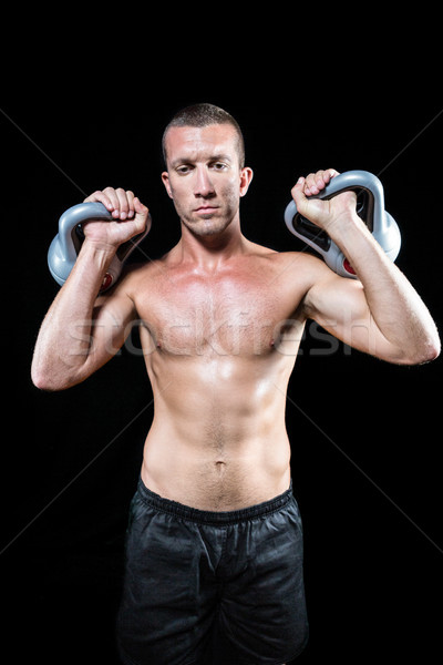 A torso nudo kettlebell nero uomo Foto d'archivio © wavebreak_media