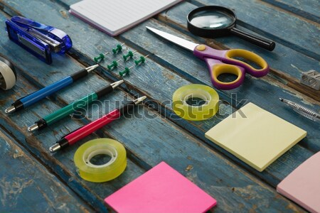 Stock photo: Office accessories on wooden plank