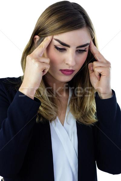 Donna toccare suit testa femminile dito Foto d'archivio © wavebreak_media