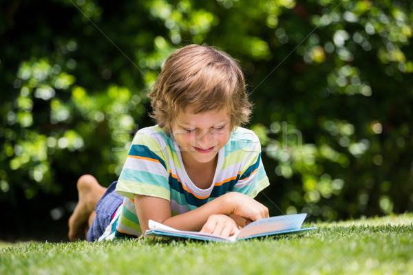 Peu garçon lecture livre herbe verre Photo stock © wavebreak_media