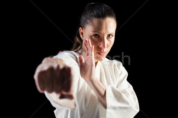 Kadın savaşçı karate siyah Stok fotoğraf © wavebreak_media