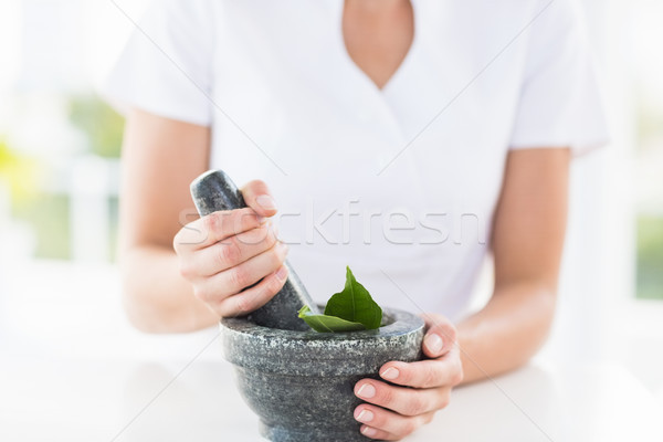 Midsection of woman holding mortar and pestle Stock photo © wavebreak_media