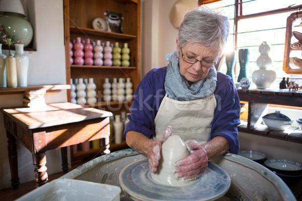 Female potter making pot Stock photo © wavebreak_media