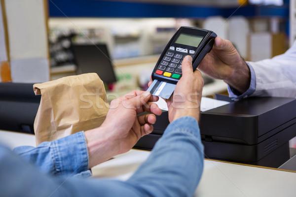 Müşteri pin ödeme makine adam tıbbi Stok fotoğraf © wavebreak_media
