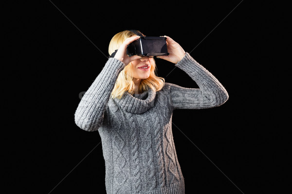Mujer realidad virtual auricular negro moda Foto stock © wavebreak_media