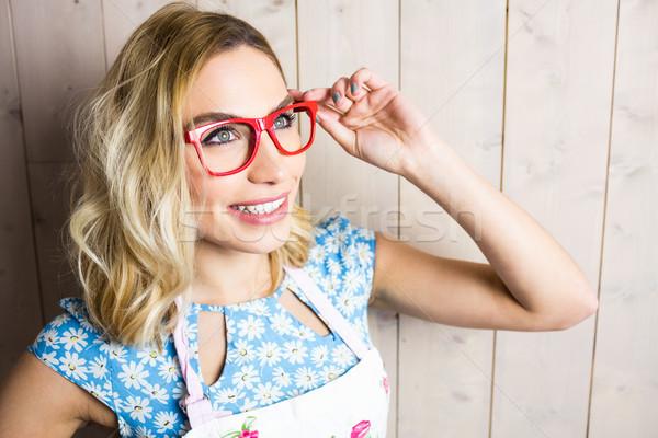 Bella donna posa occhiali texture primo piano felice Foto d'archivio © wavebreak_media