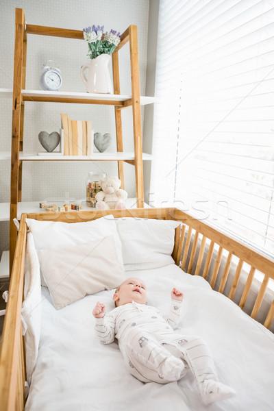 Baby jongen ontspannen wieg home meisje Stockfoto © wavebreak_media