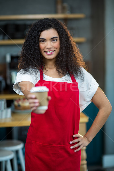 Сток-фото: портрет · официантка · одноразовый · Кубок · кофе
