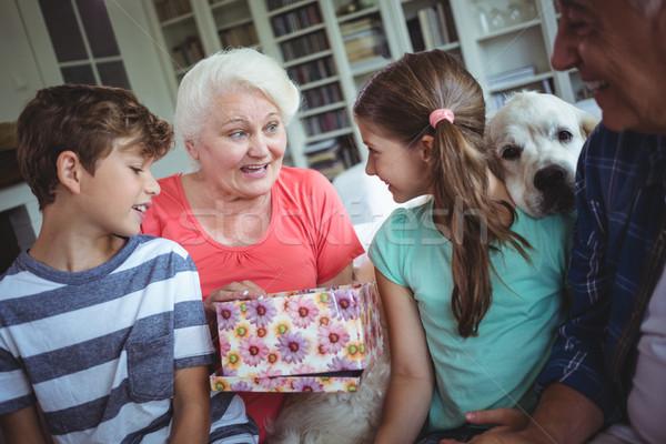 Grandparents and grandchildren looking at surprise gift in living room Stock photo © wavebreak_media