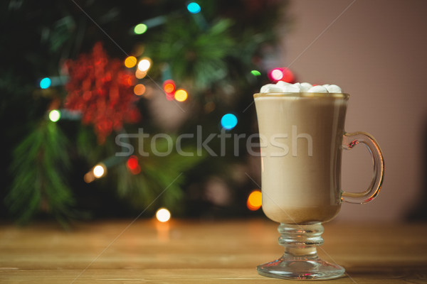 Csésze kávé mályvacukor fa asztal karácsony idő Stock fotó © wavebreak_media