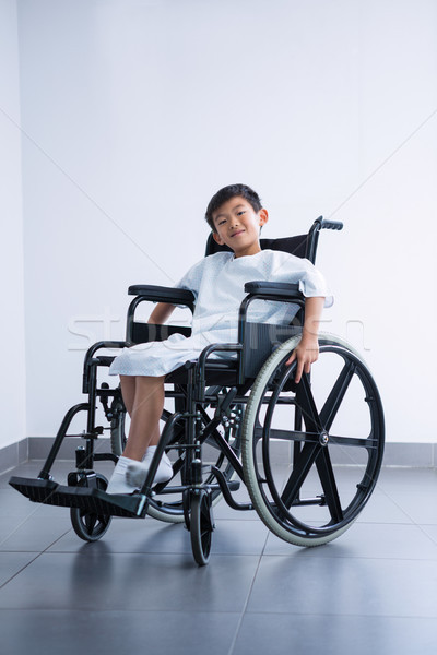 Smiling disabled boy patient on wheelchair at hospital Stock photo © wavebreak_media