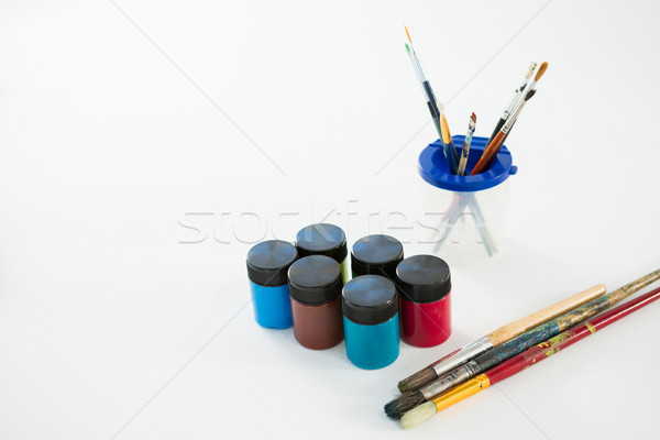 Various paintbrush and watercolors on white background Stock photo © wavebreak_media