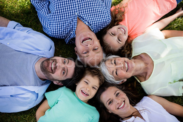 Multi generation family lying in park in a circle Stock photo © wavebreak_media