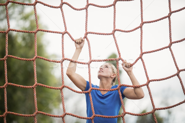 Woman climbing a net during obstacle course Stock photo © wavebreak_media