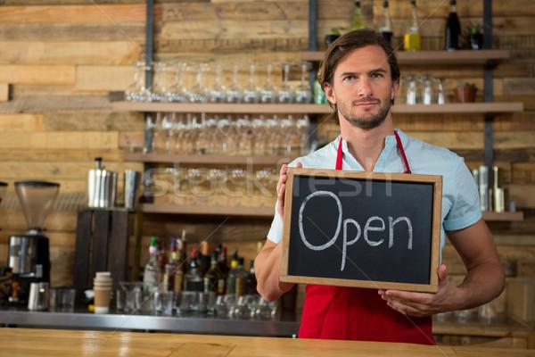 Barista open coffee shop uomo lavoro Foto d'archivio © wavebreak_media